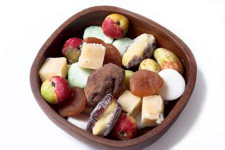 sweeties: Wooden bowl of  sweeties, fruit fudge