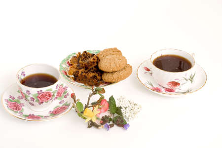 Cups of Coffee with Cake & Biscuits Stock Photo - 2660342