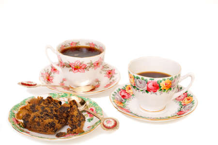 Two cups of Coffee with  Cake Stock Photo - 2678302