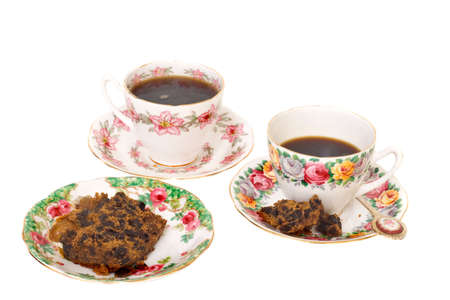 Two cups of black coffee with rich fruit cake Stock Photo - 2678303