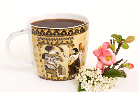 large oriental mug of coffee with floral decoration Stock Photo - 2727578