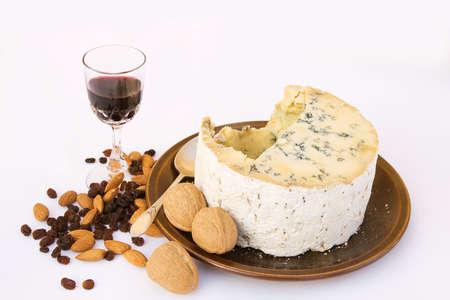 stilton: Part eaten Stilton Cheese with sultanas, walnuts and almonds
