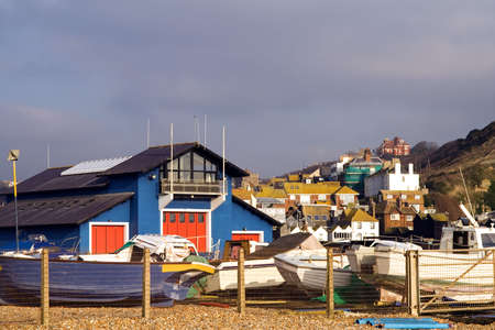 hastings: Boats around the lifeboat shed at Hastings, East Sussex
