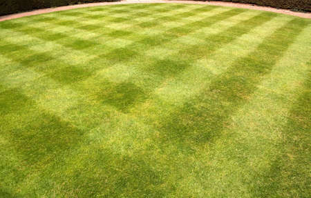 Lawn carefully mowed to produce stripes and square