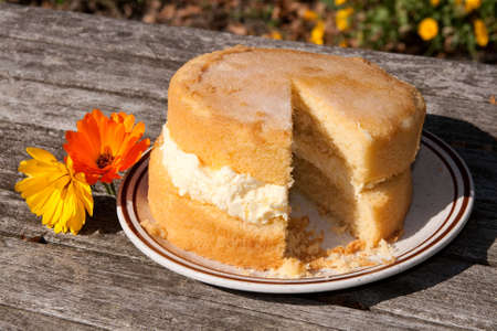 lopsided: Sponge cake, slightly lopsided, with thick layer of frosting Stock Photo