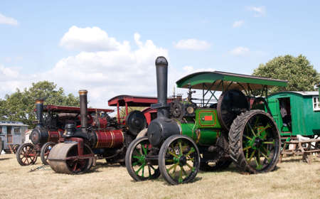 steam engines: brightly polished old steam engines Stock Photo