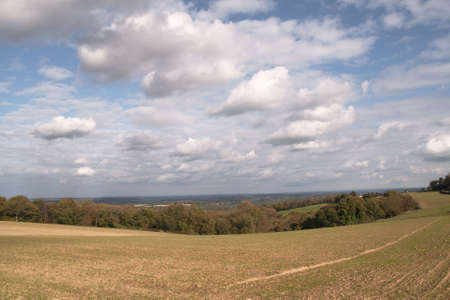 weald: clouds over the Sussex Weald showing autumn colors Stock Photo