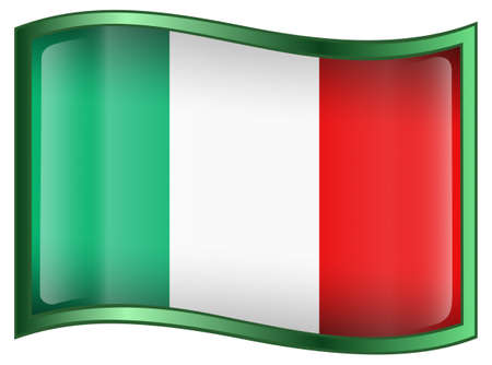 Italy Flag Button, isolated on White background. photo