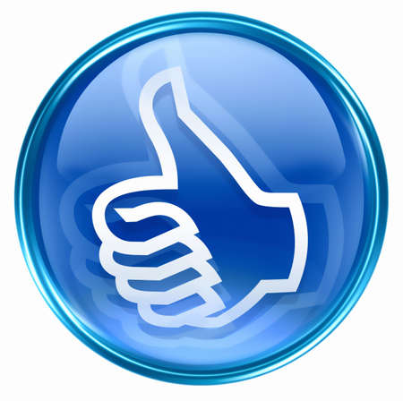 thumb up icon blue, approval Hand Gesture, isolated on white background. Stock Photo - 2875263