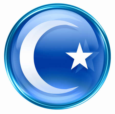 moon and star icon blue, isolated on white background. photo