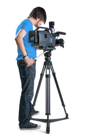 video still: Professional cameraman, isolated on white background