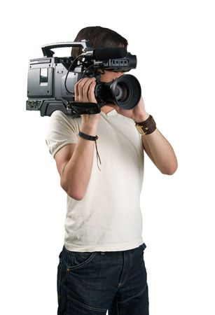 video still: Cameraman, isolated on white background