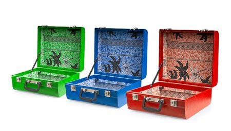 Set of suitcases, isolated on white background Stock Photo - 3492098