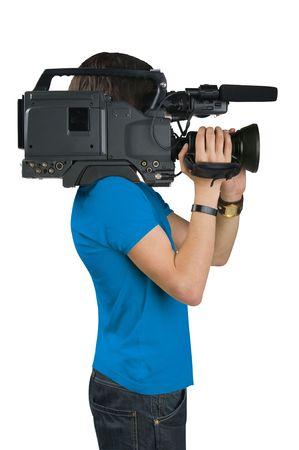 Cameraman, isolated on white background