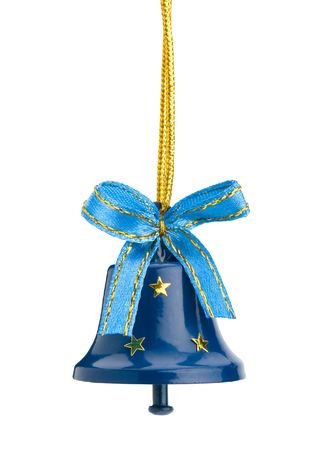 Christmas hand bell with a bow, Isolated on  white background photo