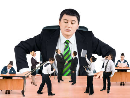 Boss and business team on white background Stock Photo