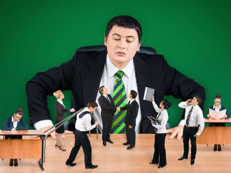 Boss and business team on green background