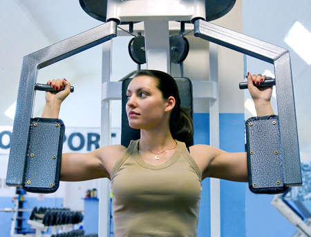 girl in fitness club Stock Photo