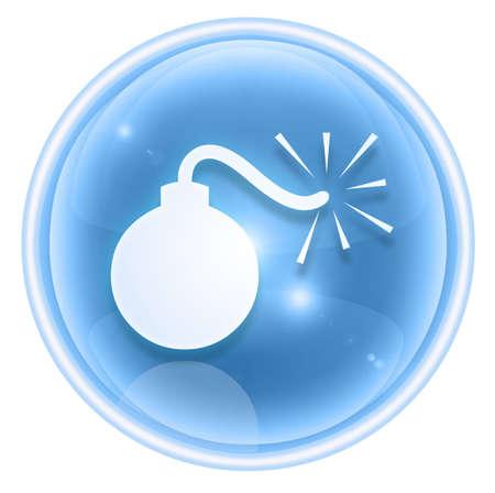 bomb icon ice, isolated on white background. photo