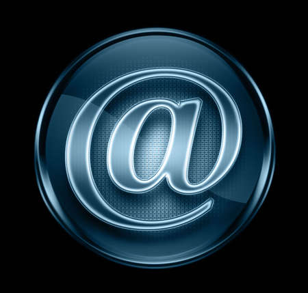 email icon dark blue, isolated on black background. photo