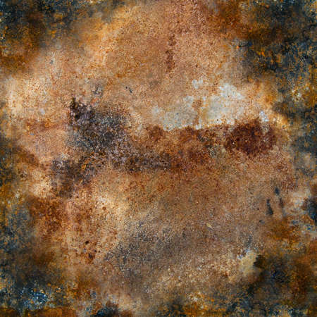 corrugated iron: strongly rusty metal plate Stock Photo