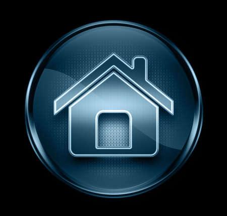 home icon dark blue, isolated on black background photo