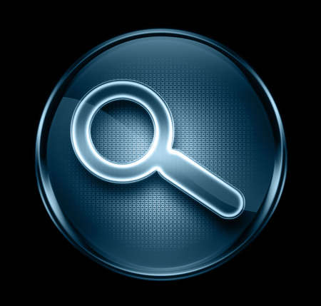 search and magnifier icon dark blue, isolated on black background.