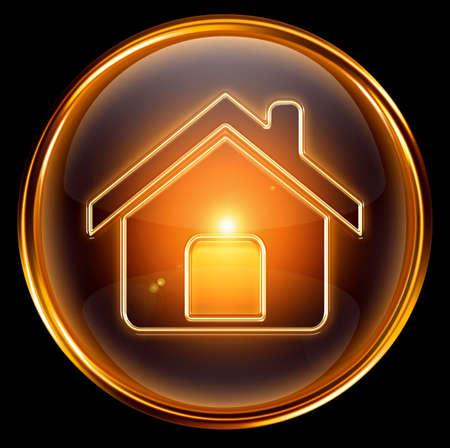 Haus Symbol Gold, isoliert auf schwarzem Hintergrund