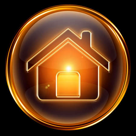 residential homes: House icon gold, isolated on black background