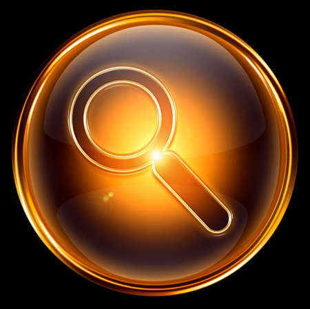 magnifier icon gold, isolated on black background photo