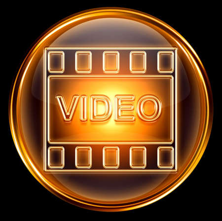 video icon gold, isolated on black background photo