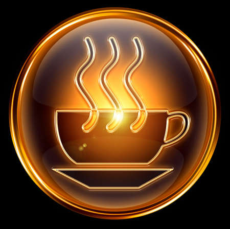 Coffee cup icon gold, isolated on black background photo