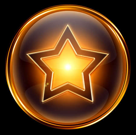 star icon gold, isolated on white background Stock Photo - 6051929
