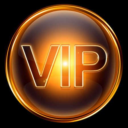 Vip Symbol Gold, isoliert auf schwarzem Hintergrund Standard-Bild