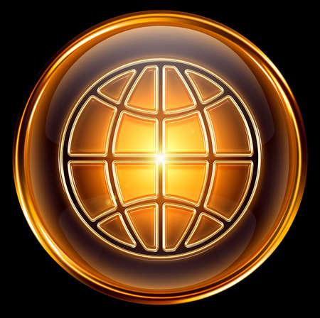 World icon gold, isolated on black background photo