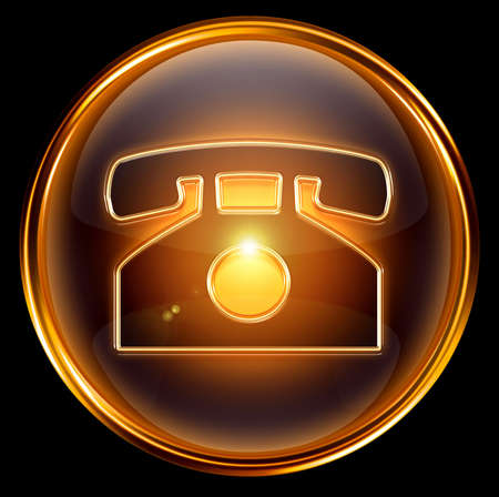 phone icon gold, isolated on black background. Stock Photo