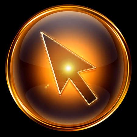 cursor icon gold, isolated on black background photo