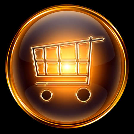 shopping cart icon gold, isolated on black background