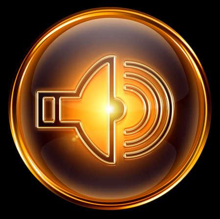 speaker icon gold, isolated on black background. photo