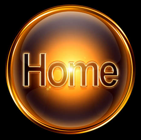 Home icon gold, isolated on black background. photo
