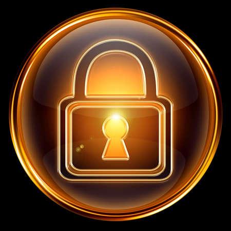 Lock icon gold, isolated on black background Stock Photo - 6621698