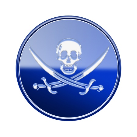Pirate icon glossy blue, isolated on white backround Stock Photo
