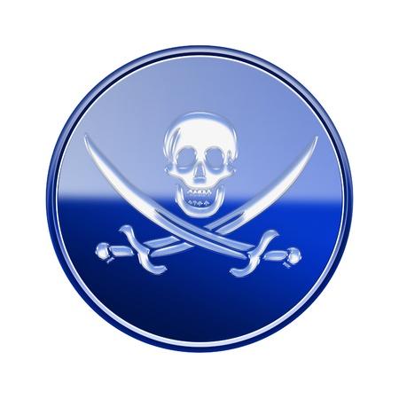 warez: Pirate icon glossy blue, isolated on white backround Stock Photo