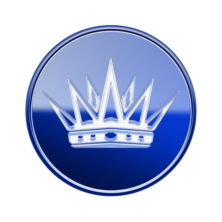 Crown icon glossy blue, isolated on white background photo