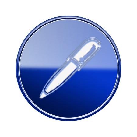 Pen icon glossy blue, isolated on white background photo