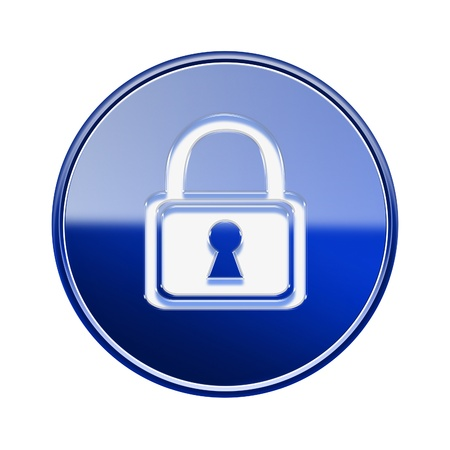 forbidden to pass: Lock icon glossy blue, isolated on white background