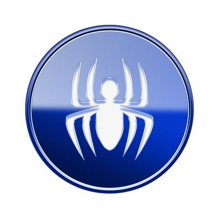 virus icon: Virus icon glossy blue, isolated on white background