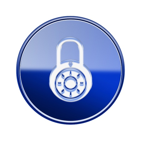 forbidden to pass: Lock off icon glossy blue, isolated on white background. Stock Photo