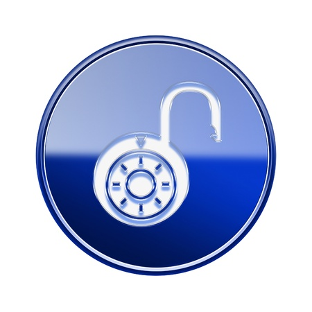 forbidden to pass: Lock on icon glossy blue, isolated on white background.