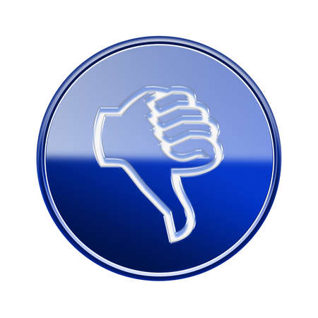 ineffective: thumb down icon glossy blue, isolated on white background.